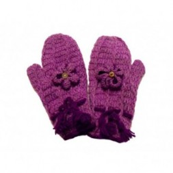 Handknitted Soft  Purple Flower Design Fleece Lined Mittens