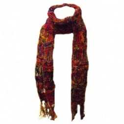 Multicoloured Hand-knitted  Reclaimed Silk Scarf