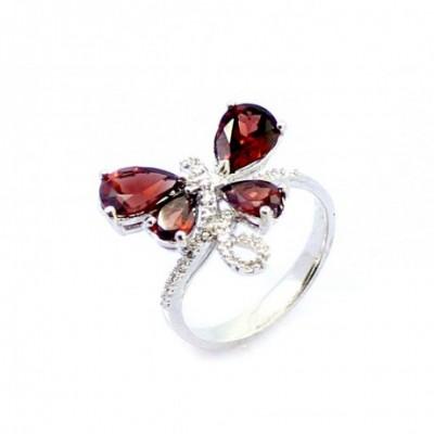 Butterfly Garnet  Gemstone Solid Silver Ring