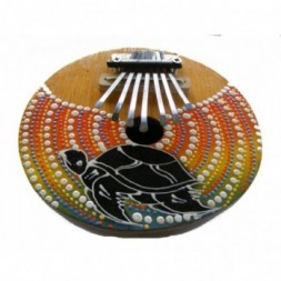 Brightly Painted Coconut  Kalimba - Thumb piano - Mbira