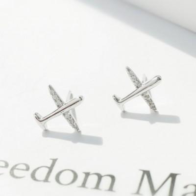 Airplane  Gemstone Cucurbit Silver Earrings