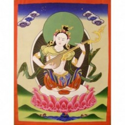 Saraswati , Goddess of Knowledge and Wisdom  Thangka...