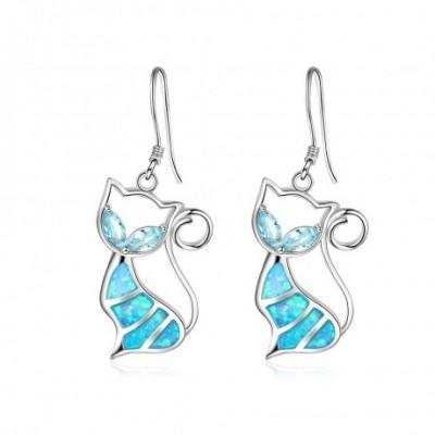 Cat  Opal Silver Dangling Earrings