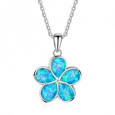 Blue Dream Flower  Opal Silver Necklace