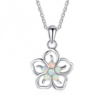 Anniversary White Flower  Opal Silver Necklace