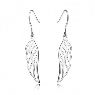 Hollow Angel's Wings Silver Dangling Earrings