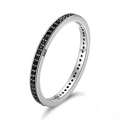 Black  Gemstone Silver Stackable Ring