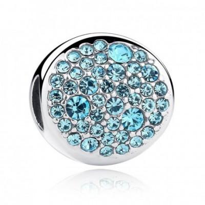 Blue  Gemstone Silver Round Charm