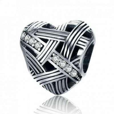 A Twining  Gemstone Heart Silver Heart Charm