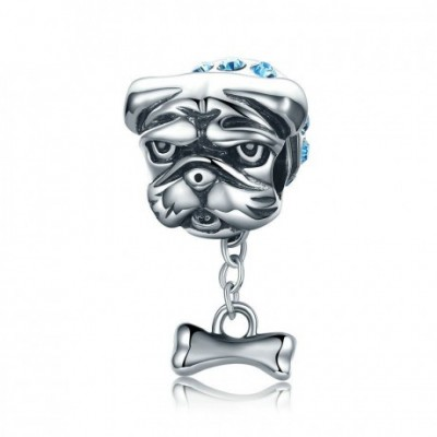 Bulldog  Gemstone Silver Charm