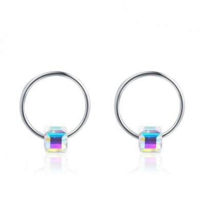 Aumtrian Crystal Cubes On Circles Silver Studs Earrings