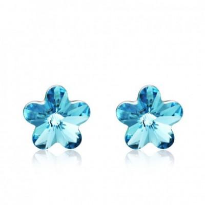 Aumtrian Crystal Flower Silver Studs Earrings