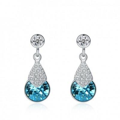 Aumtrian Crystal Waterdrop  Gemstone Silver Dangling...