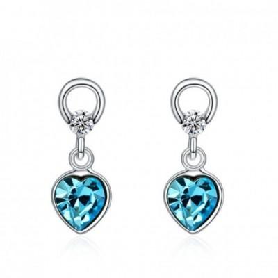 Aumtrian Crystal Heart  Gemstone Silver Dangling Earrings