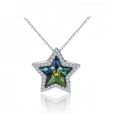 Aumtrian Crystal Five Star  Gemstone Silver Pendant