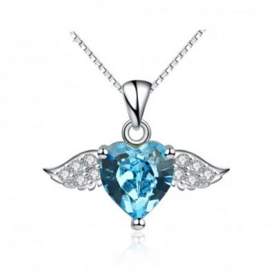 Angel's Heart Wing Aumtrian Crystal  Gemstone Silver Pendant