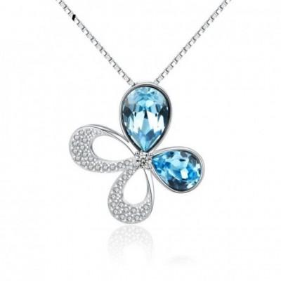 Butterfly Austrian Crystal Silver Pendant