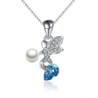 Angel Aumtrian Crystal  Gemstone Shell Pearl Silver Pendant