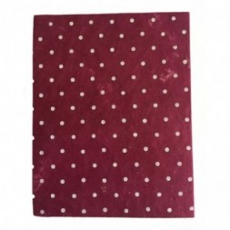 Nepali Lokta Paper Red Spotty Notebook - Large