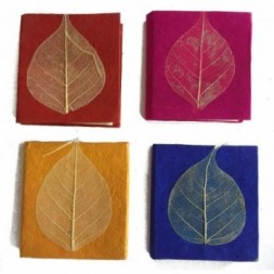 Lokta Paper Set of Four Mini Peepal Leaf Notebooks