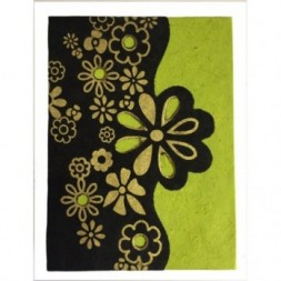 Nepali Lokta Paper Green, Black and Gold Flower Book