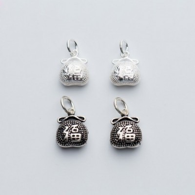 Chinese Fu On Fortune Pocket Silver Charm