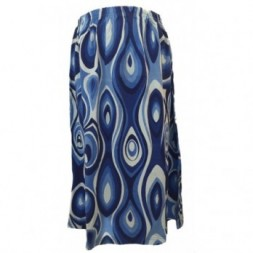 Shades of Blue Elasticated Retro Skirt