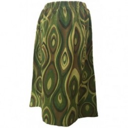 Greens and Browns Elasticated Retro Skirt