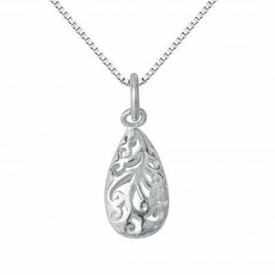 Hollowed Waterdrop Silver Charm
