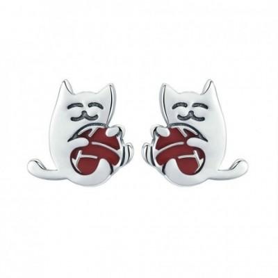 Red Cat Silver Studs Earrings