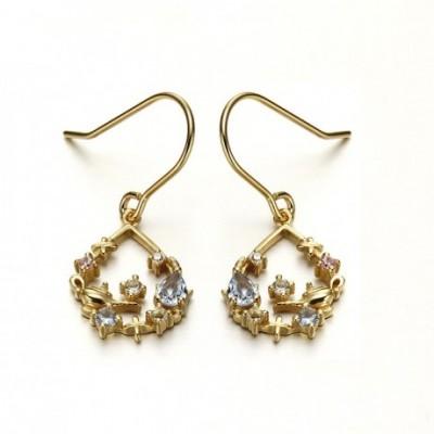 Aladdin God Lamp Topaz Silver Dangling Earrings