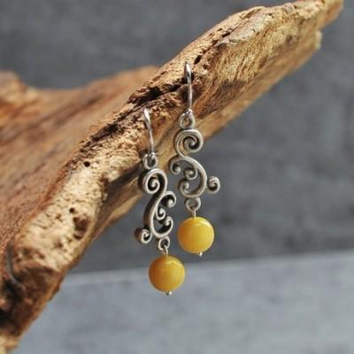 Amber Silver Dangling Earrings