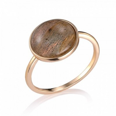14K Yellow Gold Round Labradorite Silver Ring