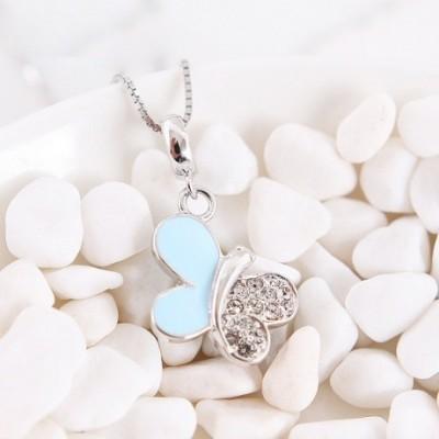 Butterfly Enamel & Gemstone Silver Pendant