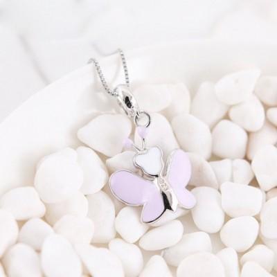 Butterfly Enamel & Silver Pendant