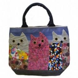 Three Cat Applique Shoulder Bag - Hand Bag
