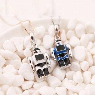 Blue & White Enamel Robot Silver Pendant