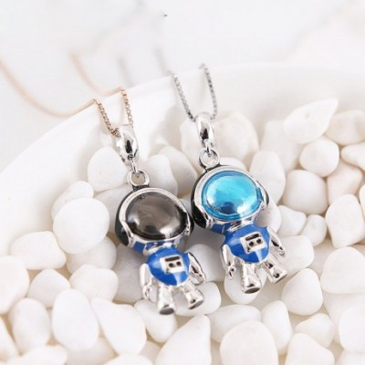 Black & Blue Enamel Space Robot Silver Pendant