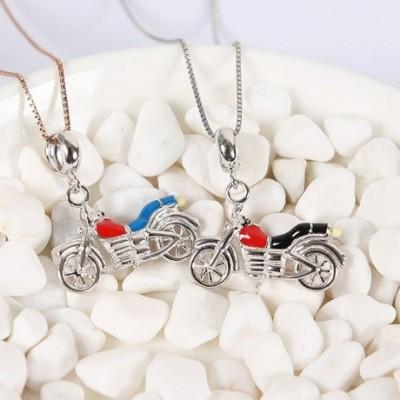 Black & Blue Enamel Motorcycle Silver Pendant