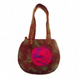 Double Circle Variegated Felt Hand Bag  Pink