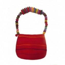 Red Striped Felt Shoulder Bag