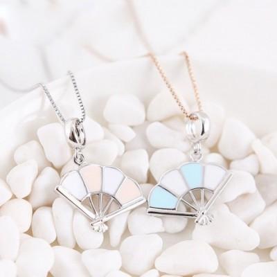 Blue & Pink Enamel Fan Silver Pendant