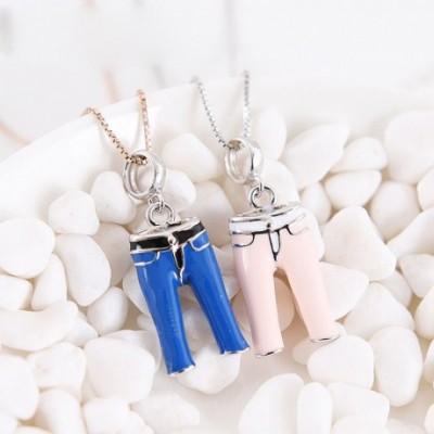 Blue & Pink Enamel Mini Trousers Pants Silver Pendant