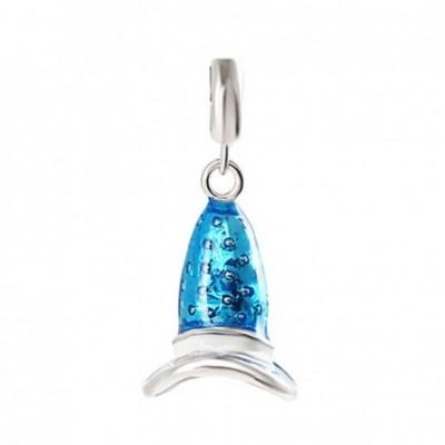 Blue & Purple Enamel Mini Wizard Hat Silver Pendant