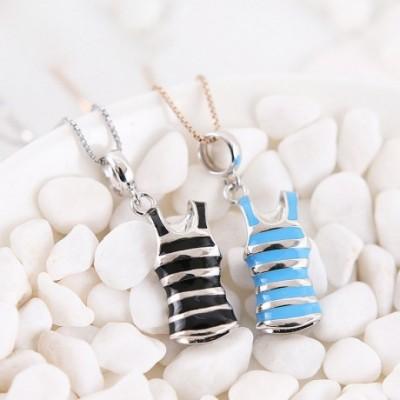 Black & Blue Enamel Mini Striped Vest Silver Pendant
