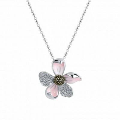 Blue & Pink Enamel  Gemstone Narcissus Flower Silver Pendant