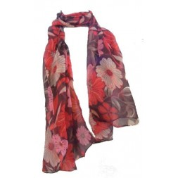 Red and Brown Flower Design Chiffon Scarf