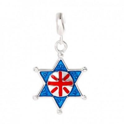 Black & Blue Chinese Letter Enamel Hexagram Silver Pendant
