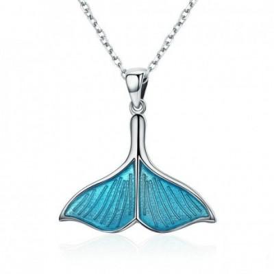 Blue Mermaid Silver & Enamel Necklace