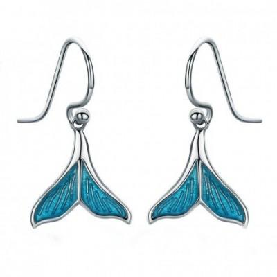 Blue Mermaid Silver & Enamel Dangle Earrings